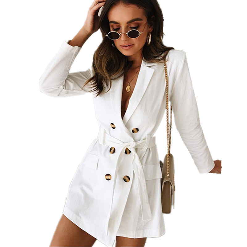 LOSSKY White Women's   Trench   Long Coat Fashion Turn-down Collar Buttons Tunic Slim Sashes Belt Autumn Spring Outwear Casaco Coats