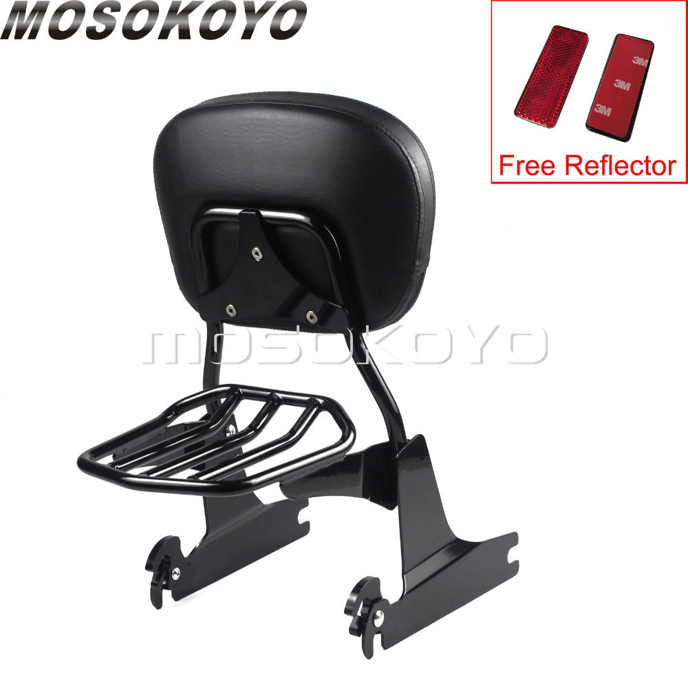 For Harley Dyna FXD FXDC FXDL FXDX 2002-2005 Motorcycle Black Luggage Rack Backrest Pad with Red ReflectorFor Harley Dyna FXD FXDC FXDL FXDX 2002-2005 Motorcycle Black Luggage Rack Backrest Pad with Red Reflector