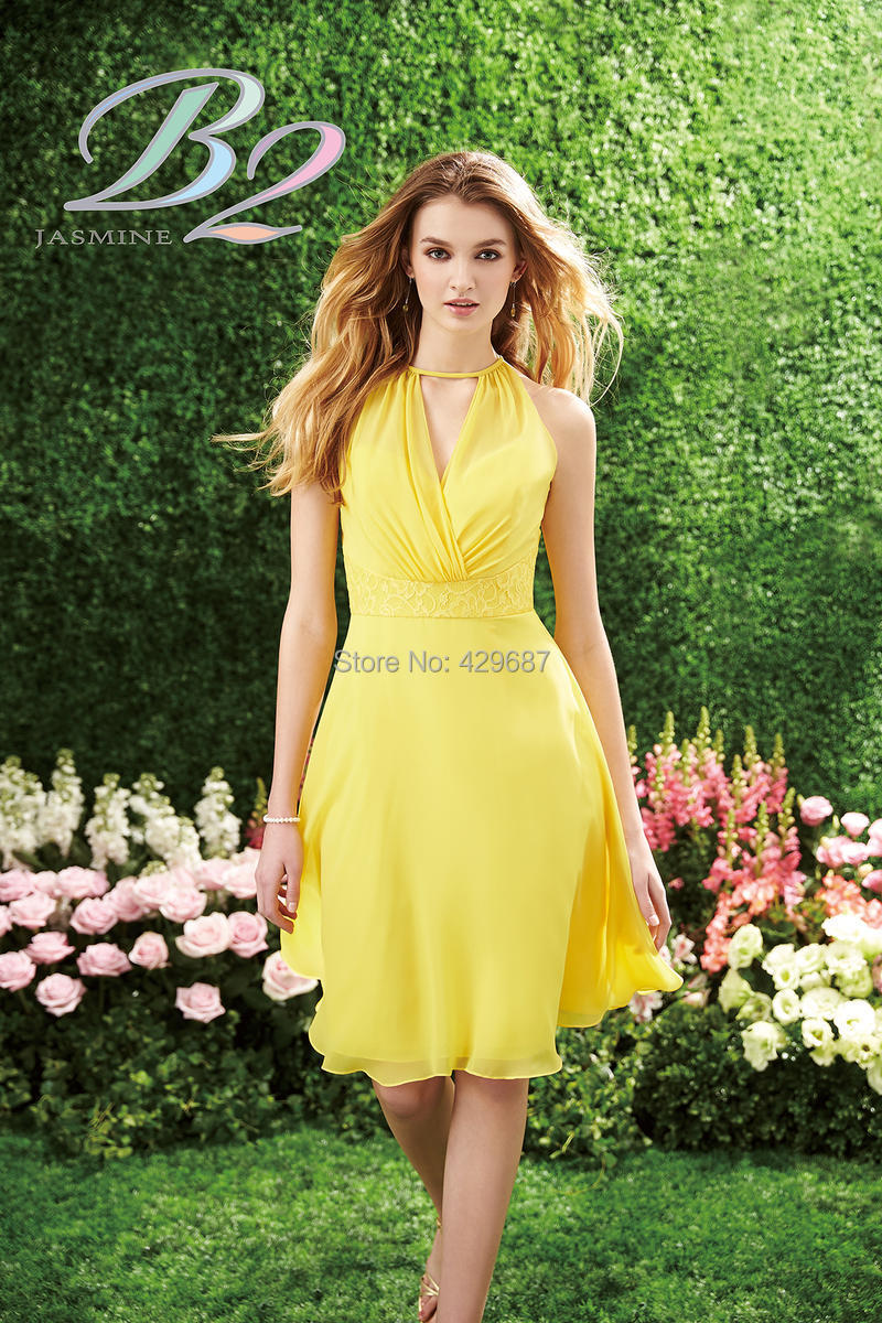 Online get cheap yellow modest bridesmaids dress aliexpress modest sleeveless short maid of honor ruched a line knee length chiffon lace yellow bridesmaid dress ombrellifo Choice Image