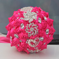 Custom Hot Pink Rose Flowers Brooch Wedding Bouquets Bridal Mariage Diamond Crystal Wedding Decoration Flowers W228 1