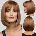Brown Wig Straight BOBO Wigs Short Women Synthetic Hair Heat Resistant Cute Hair Wig Perucas
