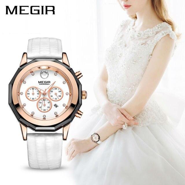 MEGIR Luxury Brand Ladies Watch Chronograph Fashion Leather Wrist Quartz Girl Watch for Women Lovers Dress Watches Clock 2042