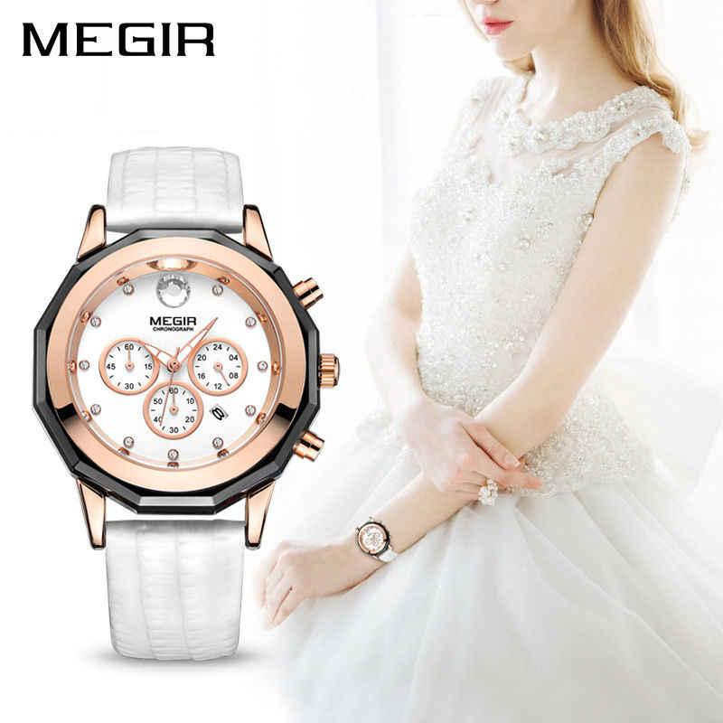 MEGIR יוקרה מותג גבירותיי שעון הכרונוגרף אופנה יד עור קוורץ ילדה שעונים עבור נשים אוהבי שמלת שעונים שעון 2042