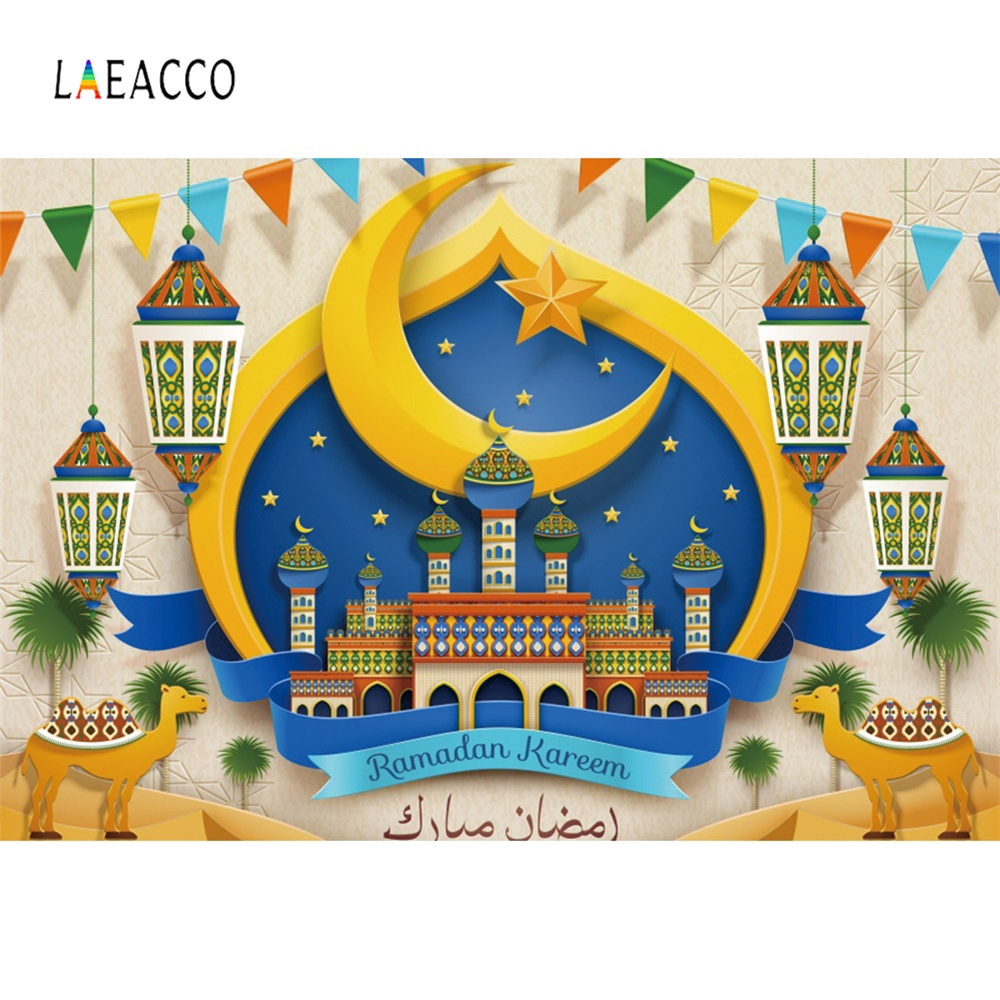 Laeacco Arab New Moon Mosque New Year Birthday Party Night Sky Photography Backgrounds Photographic Backdrops For Photo Studio in Background from Consumer Electronics