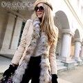Dabuwawa abajo cubren a la hembra 2016 nueva pista de invierno de piel natural tamaño grande de lujo real de piel de zorro pelo grueso outwerwear mujeres rosa muñeca