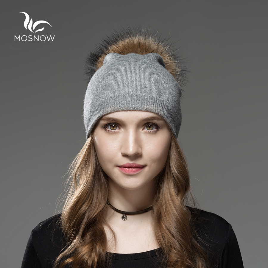 Mosnow Wool Raccoon Fox Fur Pom Poms Winter Hats Asymmetry High Quality Knitted Vogue Warm Casual Hat Female Skullies Beanies skullies beanies newborn cute winter kids baby hats knitted pom pom hat wool hemming hat drop shipping high quality s30