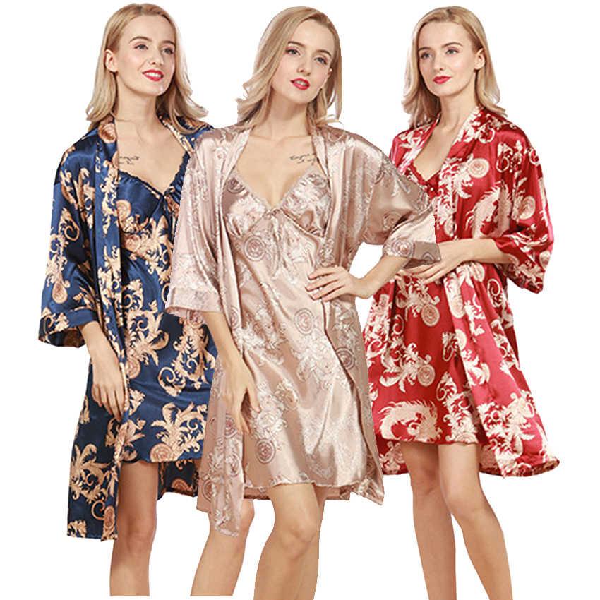 2 Piece Set Silk Kimono Robes Sexy Floral Sleepwear Lingerie Women Wedding  Party Bridesmaid Robe Satin 6001272d4