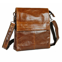 female men's Oil wax greased real cowhide leather fashion travel crossbody Shoulder messenger pad party shopping business Bags