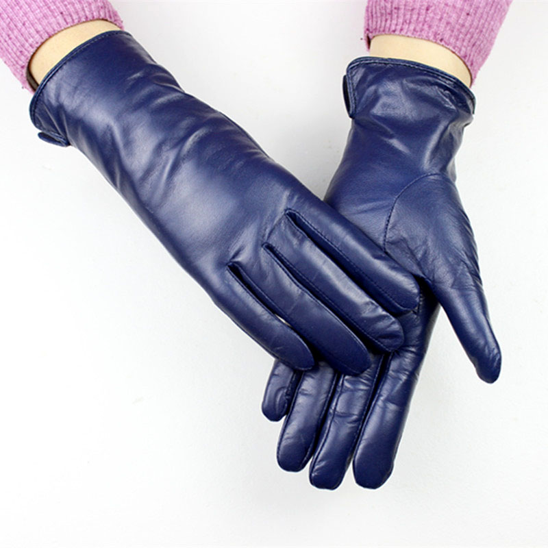 Tactical Gloves Women's Gloves Sheepskin Straight Style Wool Lining A Variety Of Color Leather Spring And Autumn Driving