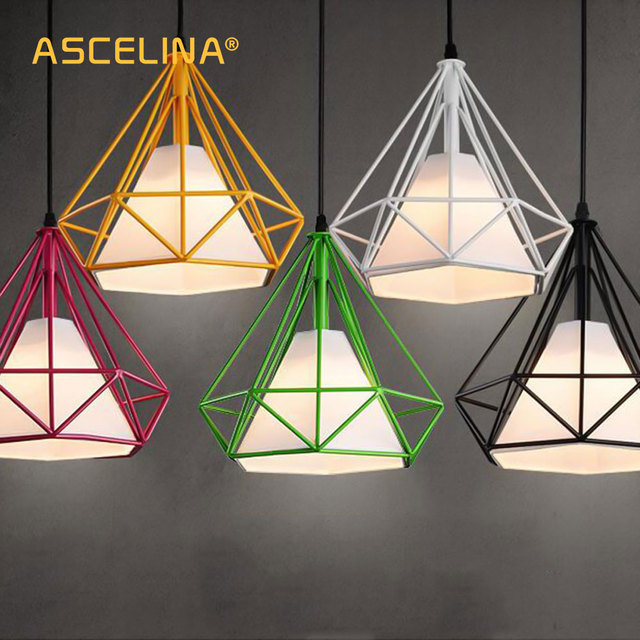 Pendant Light Modern Art Pyramid Nordic Iron Diamond Lamp Birdcage Lamps Home Decorative Fixture Lighting 3 Piece