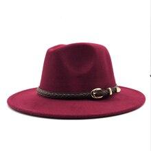 Jazz Hat Bowler-Hats Belt Fedoras-Top Round-Caps Wool American Autumn Winter Women Ladies