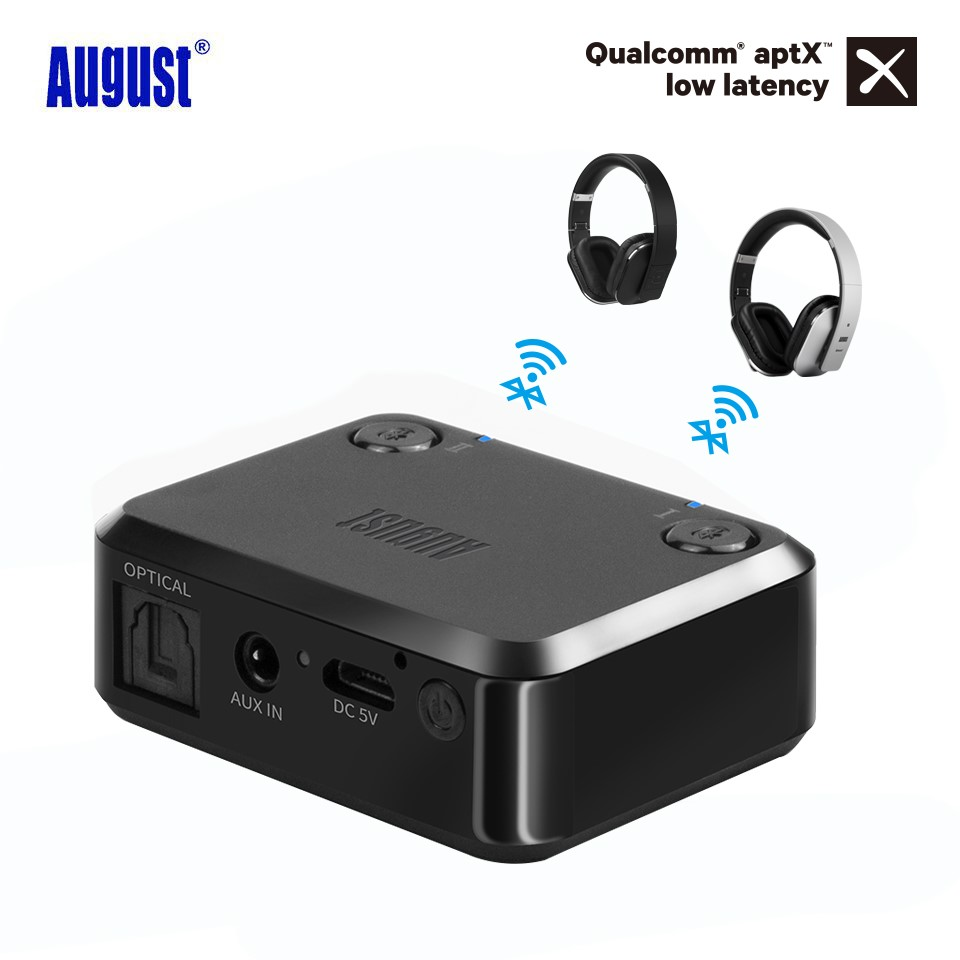 August MR270 Optical Bluetooth Transmitter aptX 3.5mm Aux Dual Link Wireless Audio Music Adapter for TV Headphones PC multipoint wireless bluetooth transmitter for audio tv 3 5mm jack aptx music aux bluetooth 4 0 adapter for two headphones