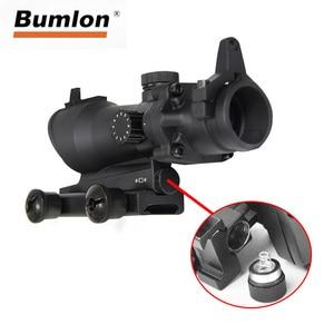 Image 3 - Bumlon ACOG 1X32 Red Dot Sight Ottico Fucile Ambiti ACOG Red Dot Scope Caccia Scopes Con 20 millimetri mount per Airsoft Gun