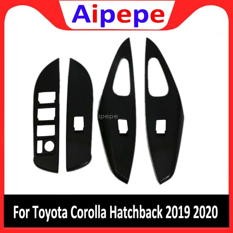 Pour Toyota Corolla 2019 intérieur porte accoudoir fenêtre verre ascenseur bouton couverture cadre garnitures en fibre de carbone autocollants accessoires de voiture