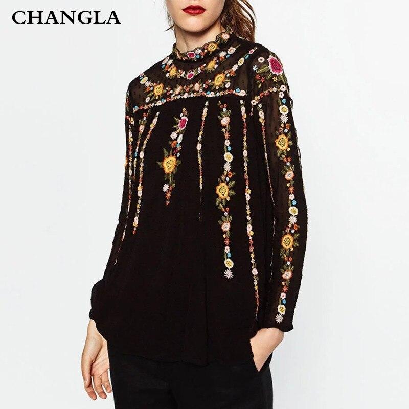 CHANGLA Moda Elegante Bordado Floral Blusa Camisas de Cuello de Pie de Manga Lar