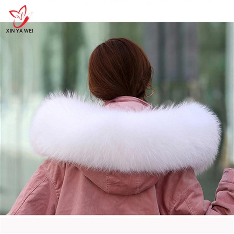 Women Winter Coat Female Warm Shawl Thick Raccoon Fur Collar Scarves Neck Warmer 100% Natural Fur Collar Real Fur Scarf