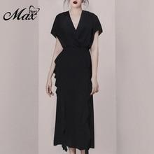 купить Max Spri 2019 Fashion Women Set Summer Style Solid Black V-neck Short Sleeve Top High Waist Ruffle Decor Midi Skirt онлайн