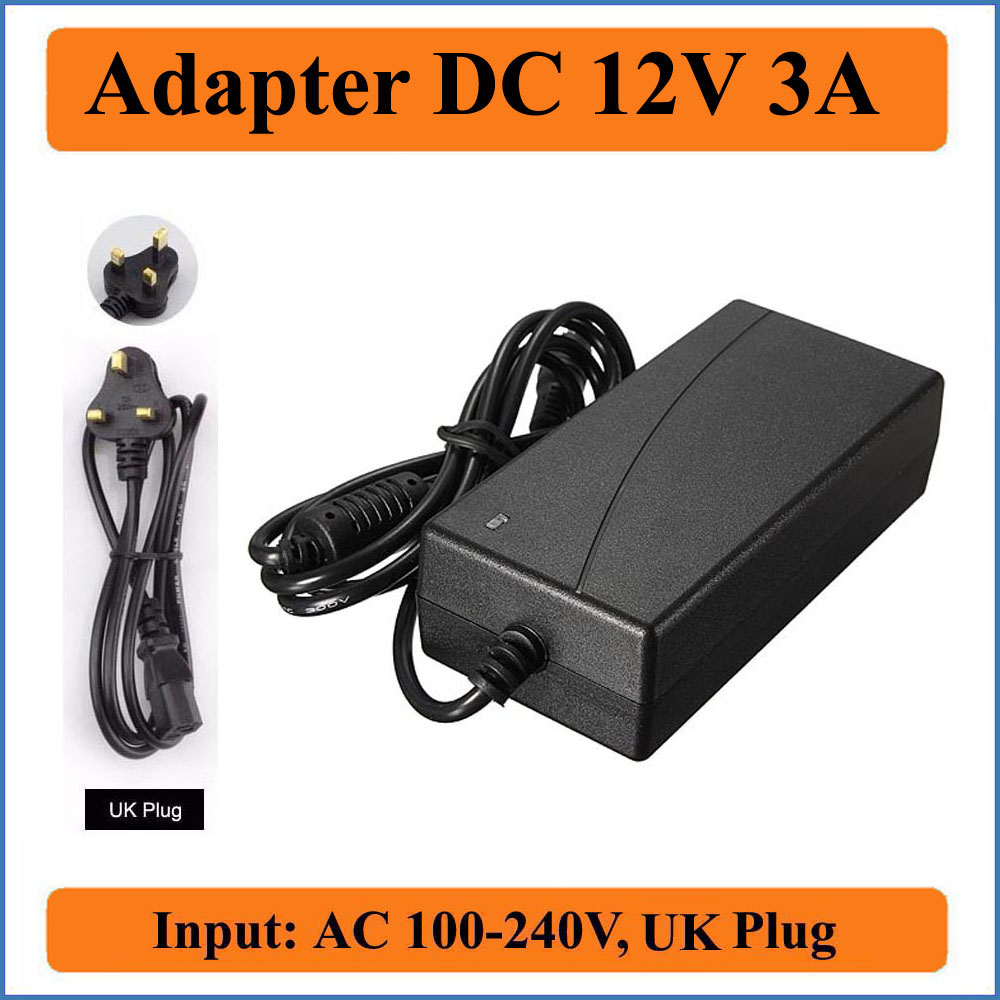 12V 3A UK Plug AC DC Adapter AC100-240V Converter to DC 12V 36W Power Supply For 5050 RGB Led Light Strip or LCD or CCTV Camera