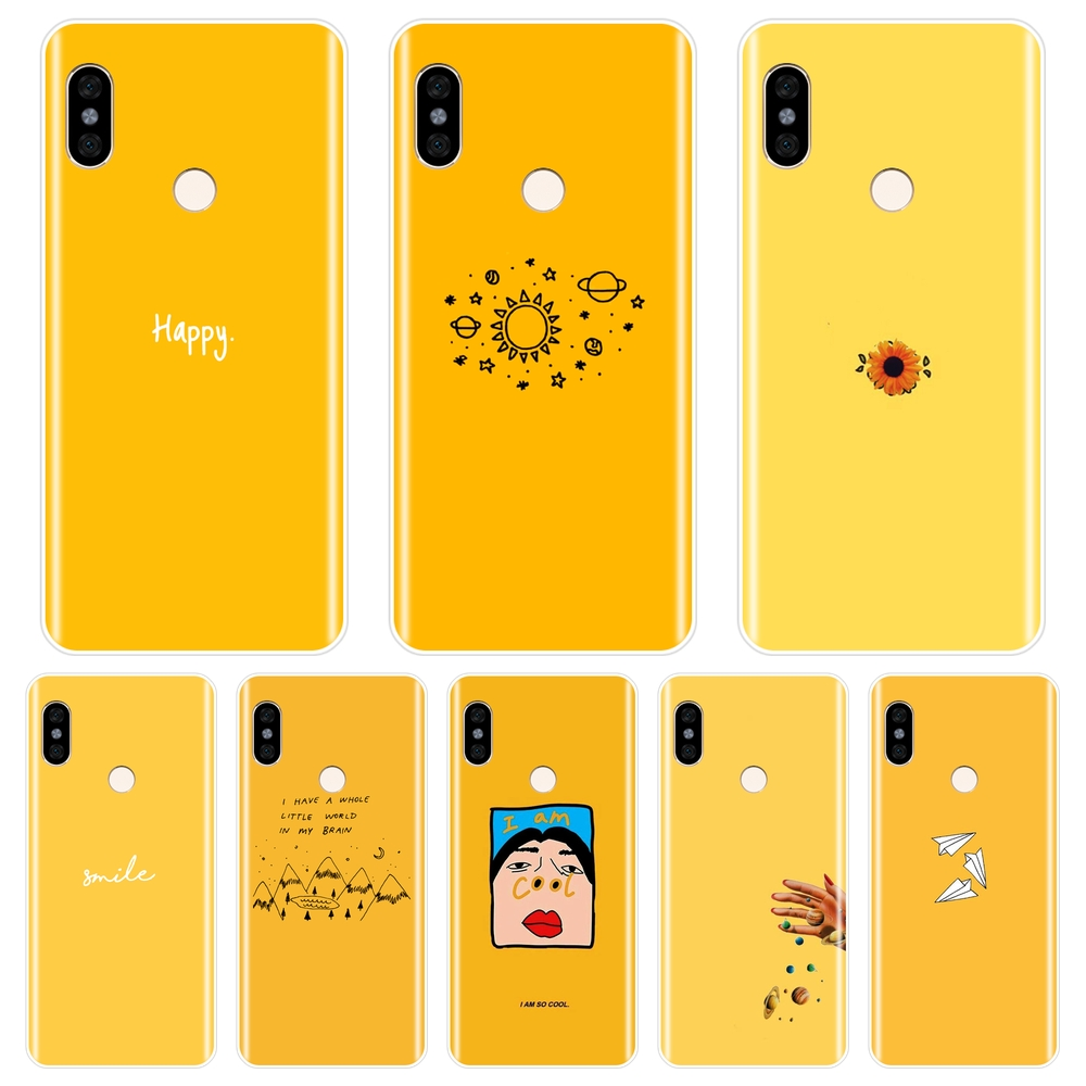Back-Cover Phone-Case Yellow Xiaomi Redmi Soft-Silicone 5a Prime Note 5-Plus 6A for 6-Pro
