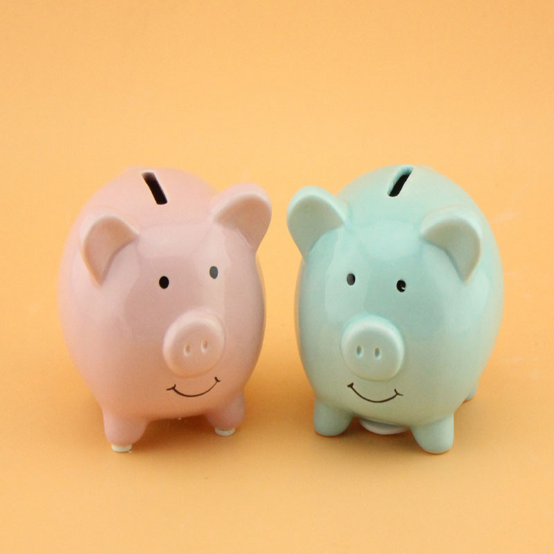 Piggy Coin Box Ceramic Piggy Bank Money Cute Pig Cartoon Saving Bank Money Box Kids Birthday Home Decoration WZL054