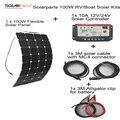 Solarparts 100 Вт DIY RV/Лодки Наборы Солнечной Системы 1x100 W гибкие солнечные панели 1x 10A солнечный регулятор 1 компл. 3 М MC4 кабель 1 компл. клип