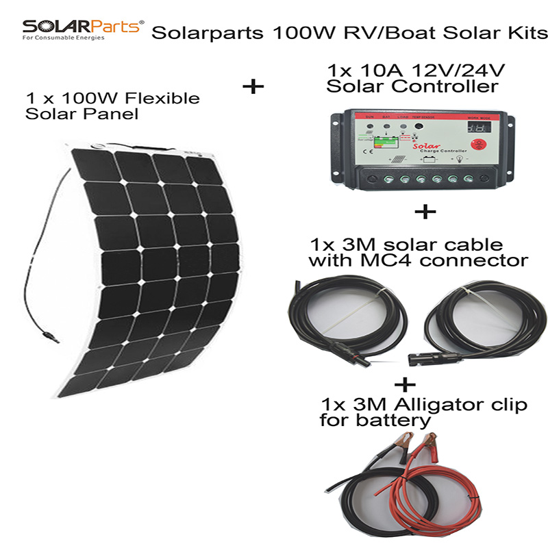 Solarparts 100W DIY RV/Boat Kits Solar System 1 x100W flexible solar panel 1x 10A solar controller 1 set 3M MC4 cable 1 set clip solarparts 100w diy rv marine kits solar system1x100w flexible solar panel 12v 1 x10a 12v 24v solar controller set cables cheap