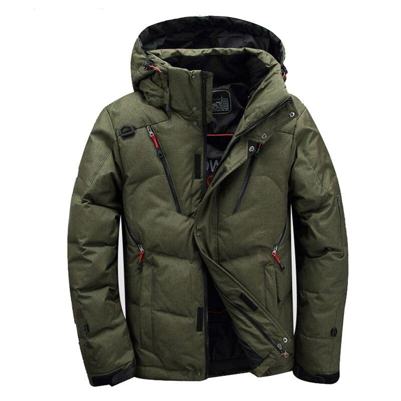 New winter jacket outdoor hiking men s Multiple pockets ski jacket thickening hooded fur collar white