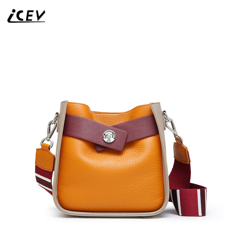 ICEV New Simple European Fashion Genuine Leather Handbag Women Leather Handbag Panelled Bucket Bags Handbags Women Famous Brands icev new genuine leather female clutch handbag large capacity tote bag ladies panelled bucket bags handbags women famous brands