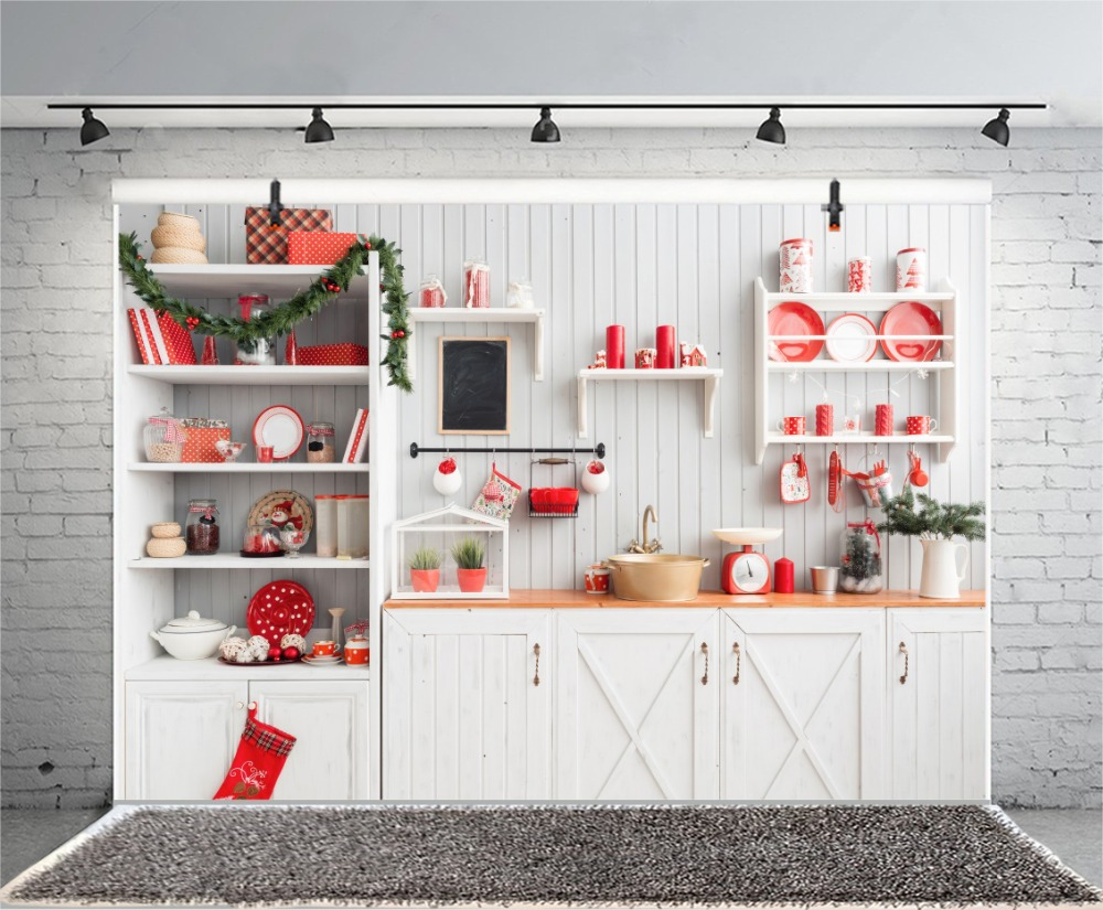 Laeacco Interior Photography Background Light Grey Kitchen Red Christmas Decor Scene Baby Photographic Backdrop For Photo Studio in Background from Consumer Electronics