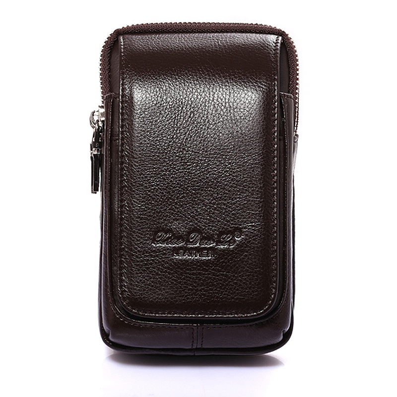 Brand Genuine Leather Mini Waist Fanny Pack Wallet Belt Cross Bag Men's Mobile/Cell Phone Bag Punch Case Cover Holder For Iphone