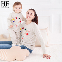 HE Hello Enjoy Mommy And Me Clothes Family Matching Outfits Baby Long Sleeve Romper Matching Mother