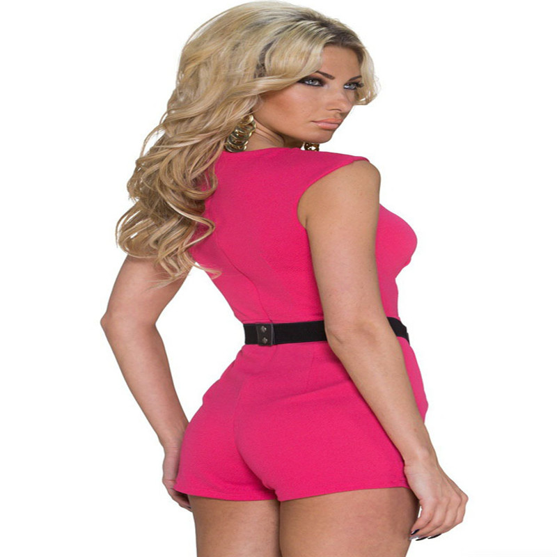 0c7c223f595 2018 Combinaison Sexy Bodysuit Womens Classy Disco Pink Summer Sleeveless  Rompers Jumpsuit Shorts Playsuits For Women LC60151-in Rompers from Women s  ...