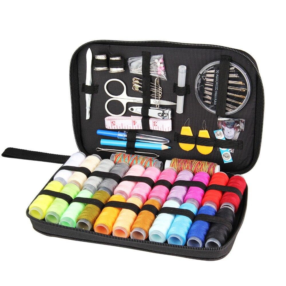 DIY de coser caja de Multi-función de viaje Kit de costura de hilo de aguja enhebrador cinta tijera bolsa de almacenamiento de conjunto de 25/ 90/94 piezas