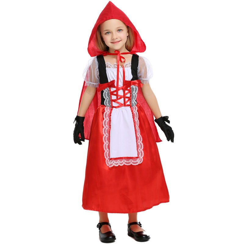Little Red Riding Hood Costume For Girls  Kids Fantasia Halloween Purim Party Cosplay Fancy Hooded Dress+Gloves Cosplay Costume