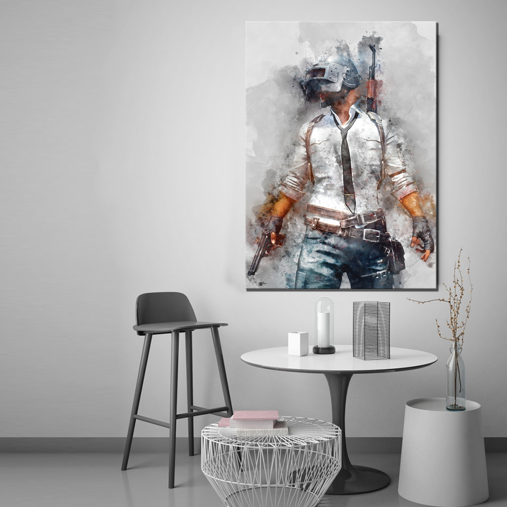 1 Piece PUBG PLAYERUNKNOWNS BATTLEGROUNDS Game Poster Artwork Canvas Painting Wall Art for Home Decor 3