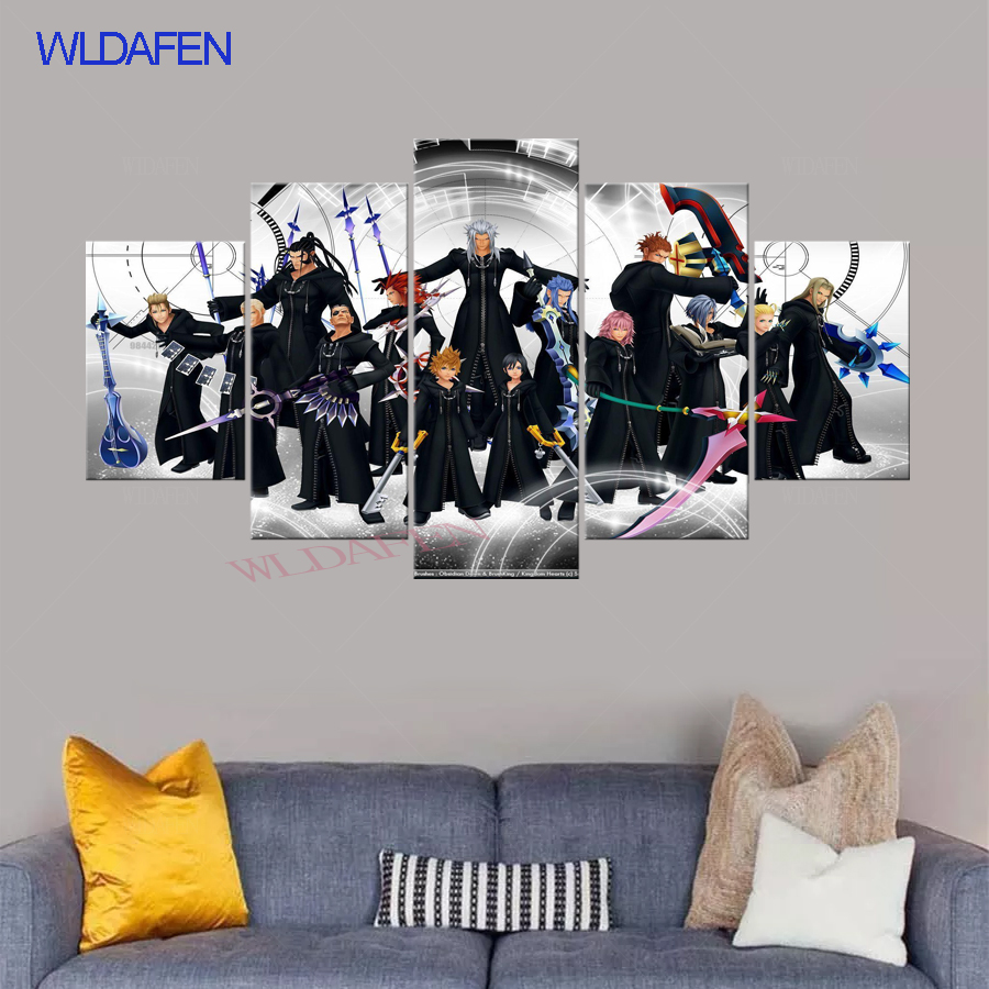 5 pannello di pittura stampato HD pittura Kingdom Hearts tela home decor wall art picture for living camera dei bambini arredamento camera da letto