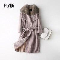 PUDI A17070 women's winter warm genuine mink fur hood winter warm coat lady Real wool Long coat jacket overcoat