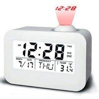 Multifonctionnel numérique LED alarme de projection horloge rétro-éclairage de contrôle acoustique de détection snooze température temps voix alarmante