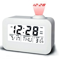 multifunctional digital LED projection alarm clock acoustic control sensing backlight snooze temperature time alarming voice