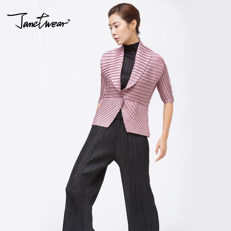 Miyake Folds Short Sleeve Lapel Small Suit  Large Size Women's Clothing Pleated Coat Free Shipping