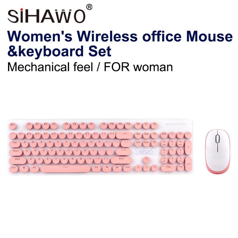 Souris et clavier sans fil ensemble Punk mécanique sensation clavier souris ensemble bureau affaires filles clavier souris USB 2.4 HZ mode