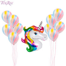 FENGRISE Unicorn Party Balloons Pink Agate Balloon Birthday Party Favors for Kids Baby Shows Backdrop Decoration Foil Balloons(China)