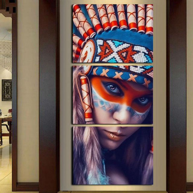 Painting Home Decor For Living Room 3 Panel Native American Indian Girl  Feathered Art Printed On
