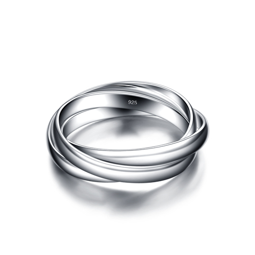 Sterling silver ring fashion 3 ring combination.Contracted solid 925 silver ring