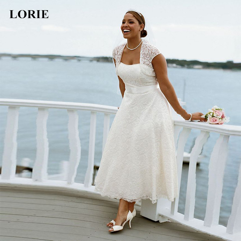 LORIE Wedding Dresses 2019 Ankle Length Lace Wedding dress White Ivory Strapless Summer Beach vestido de