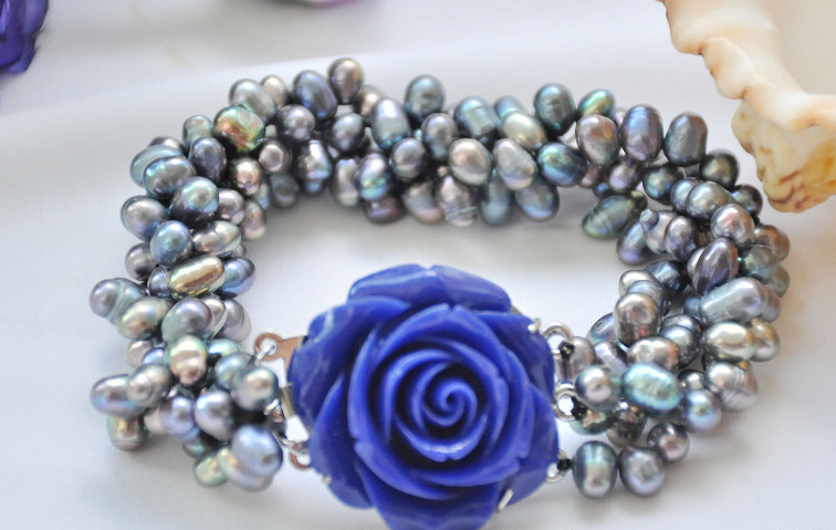 Wedding Woman Jewelry 4 Strands Pearl Bracelet 10mm Bright Blue Real Natural Freshwater Pearl Bracelet Blue Rose Clasp
