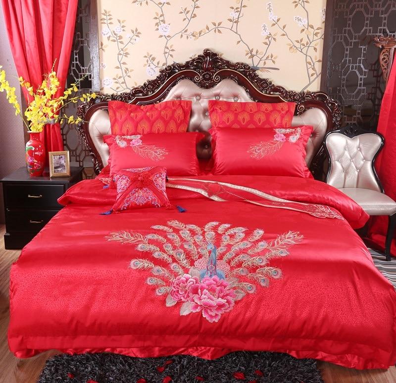 Silk Cotton Golden Peacock embroidery Luxury wedding Bedding set 4/6/9Pcs King Queen size bedspread set Duvet cover pillow sh