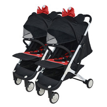 Yoyaplus двойная коляска с высоким пейзажем, портативная детская коляска, складная, сидящая, откидывающаяся коляска, двойная коляска, может быть в самолете