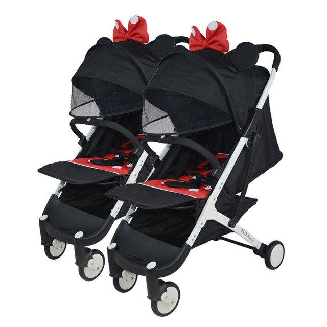 Yoyaplus Twin wandelwagen hoge landschap draagbare kinderwagen opvouwbare sit liggende kinderwagen dubbele wandelwagen kan worden op vliegtuig