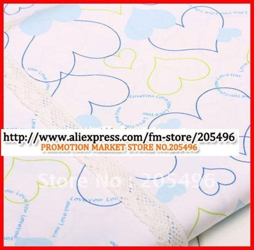 Free shipping 100% cotton white textiles and fabrics material heart design Meter wholesale